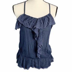 Papaya blue lace ruffle Y back tank blouse S